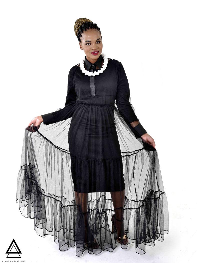 2 in 1 Salva black Mesh dress