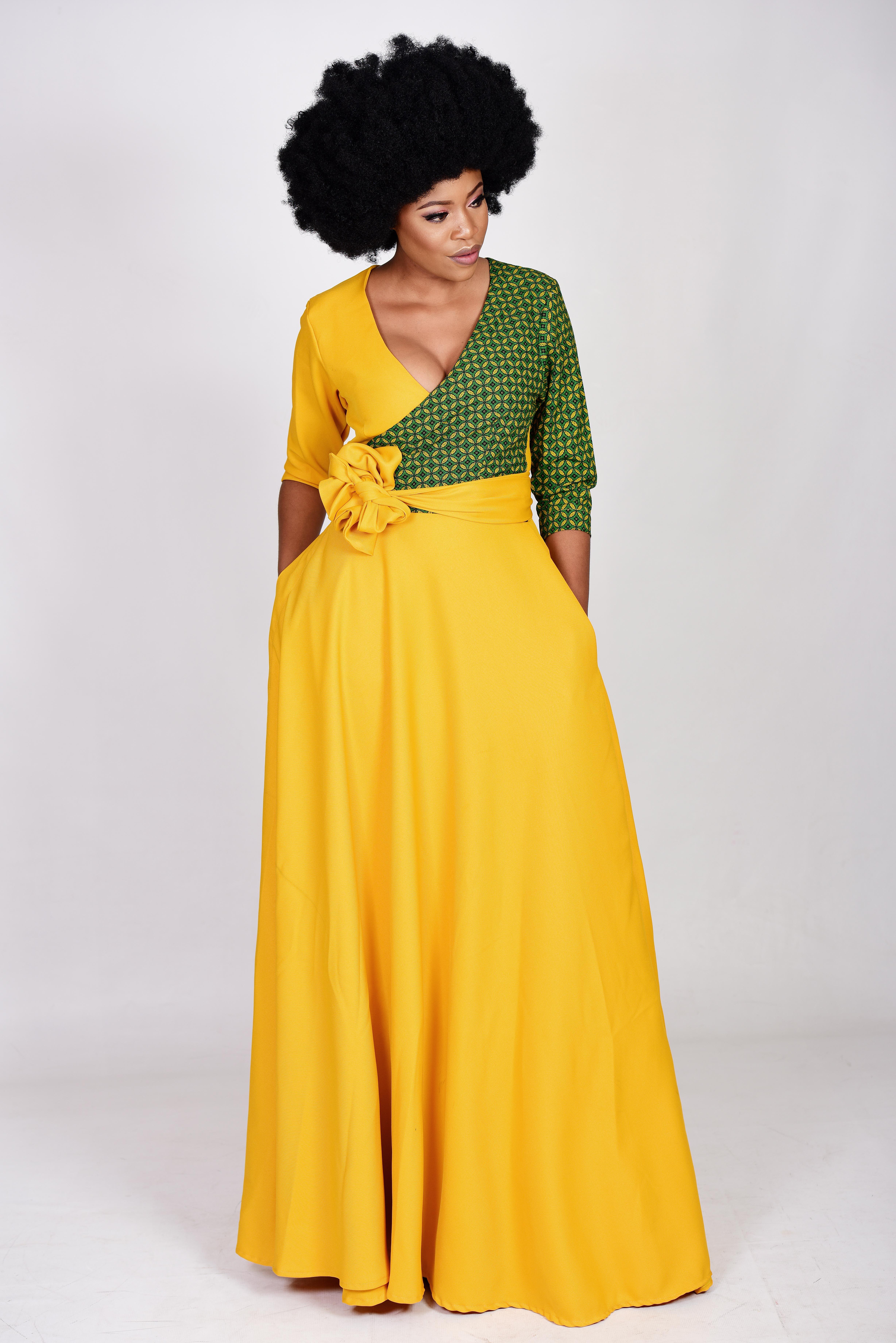Seshweshwe Wrap Dress